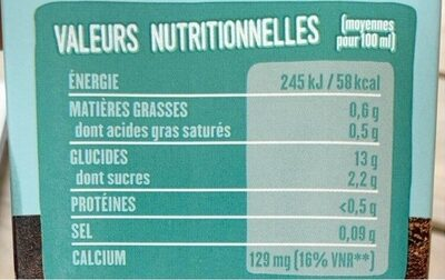 Boisson riz coco - Informations nutritionnelles