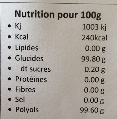 Xylitol - Informations nutritionnelles - fr