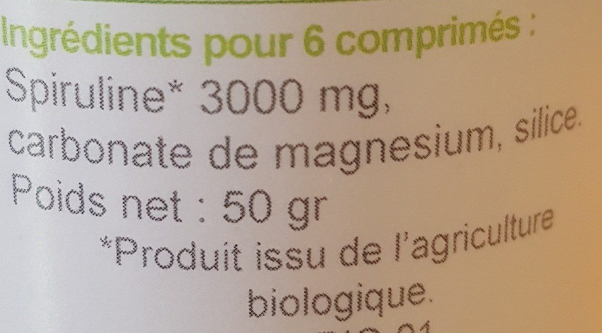Spiruline - Ingrédients - fr