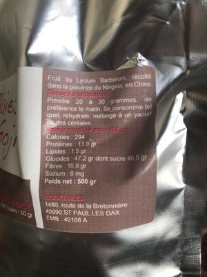 Baies De Goji - 500 GR - Ingrédients - fr