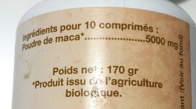 MACA Bio - 340 Comprimés dosés 500 mg - Ingredients