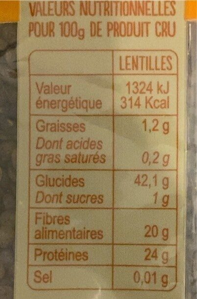 Lentilles vertes du Berry - Nutrition facts - fr