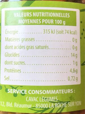Lentilles cuisinées - Informations nutritionnelles - fr