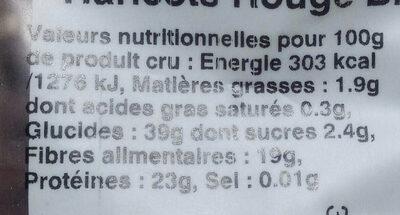 Haricots rouges biologiques - Informations nutritionnelles - fr