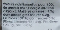 Lentilles vertes biologiques - Informations nutritionnelles - fr