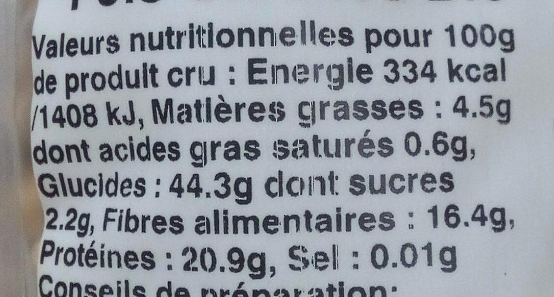 Pois chiches biologiques - Informations nutritionnelles - fr