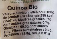 Quinoa biologique - Informations nutritionnelles - fr