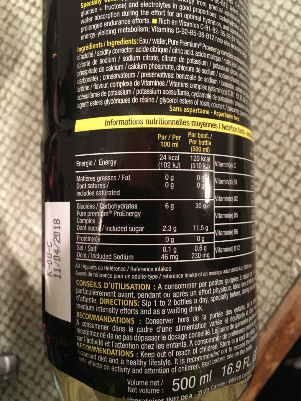 Mineral Drink STC Nutrition - Informations nutritionnelles - fr