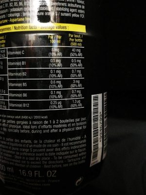 STC Nutrition Mineral Drink énergie, Gout Orange - Bouteille - Informations nutritionnelles - fr