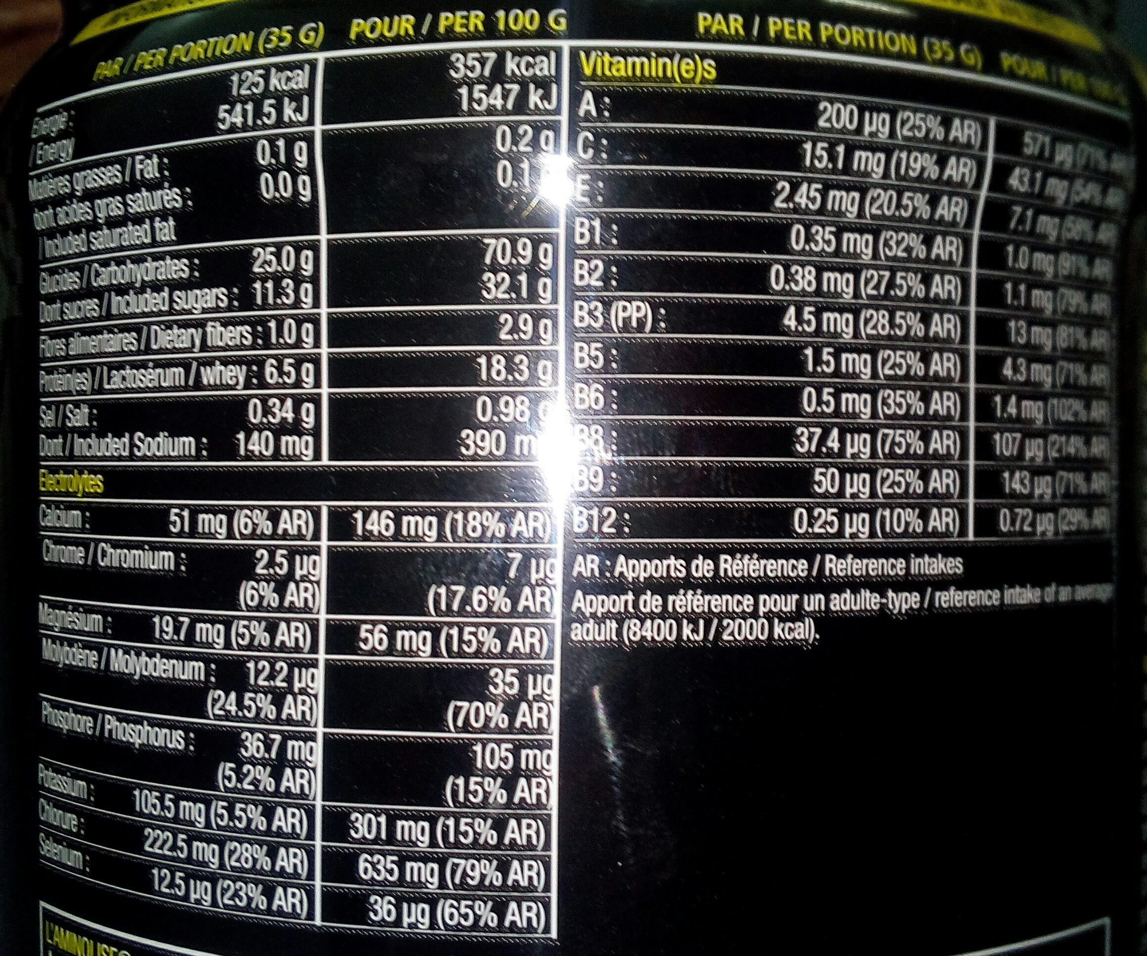 VO2 MAX Fruits Rouges - 525GR - STC Nutrition - Informations nutritionnelles