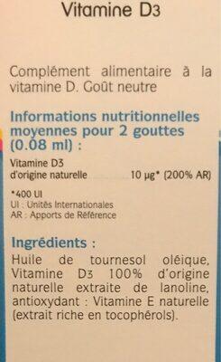 Vitamine D3 400 UI - Informations nutritionnelles - fr