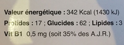 """Musculine """"G"""" - Informations nutritionnelles"""