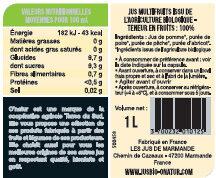 Pur Jus de multifruits Bio - Valori nutrizionali - fr