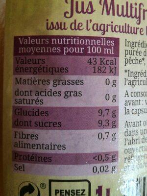 Pur jus de multifruits Bio Origine France - Valori nutrizionali - fr