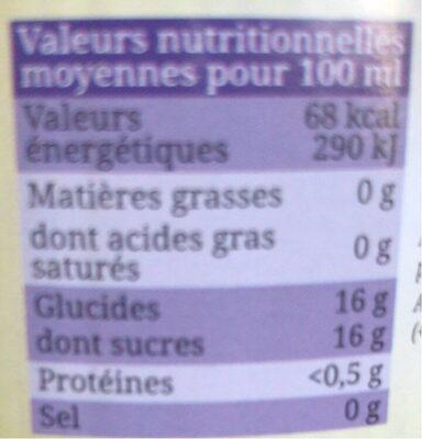 Pur jus de Raisin du Lot-et-Garonne Bio Equitable - Voedingswaarden - fr