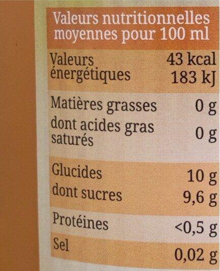 Pur Jus d'Orange, Carotte, Citron Bio - Valori nutrizionali - fr
