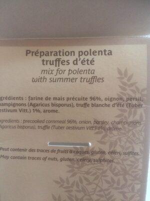 Polenta truffée - Ingrédients