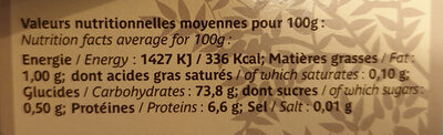 Polenta truffée - Informations nutritionnelles