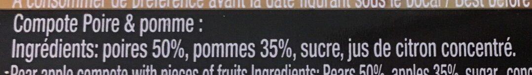Compote Pomme & poire - Ingrédients