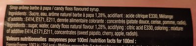 Sirop saveur barbe à papa - Ingrediënten