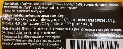 Veloute de potiron bio - Informations nutritionnelles - fr