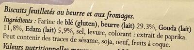Palmiers au Fromage Pur Beurre - Ingrédients - fr