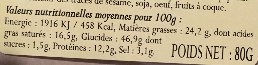 Palmiers au Fromage Pur Beurre - Nutrition facts - fr