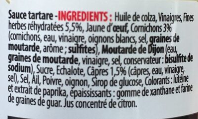 Sauce tartare - Ingrédients - fr