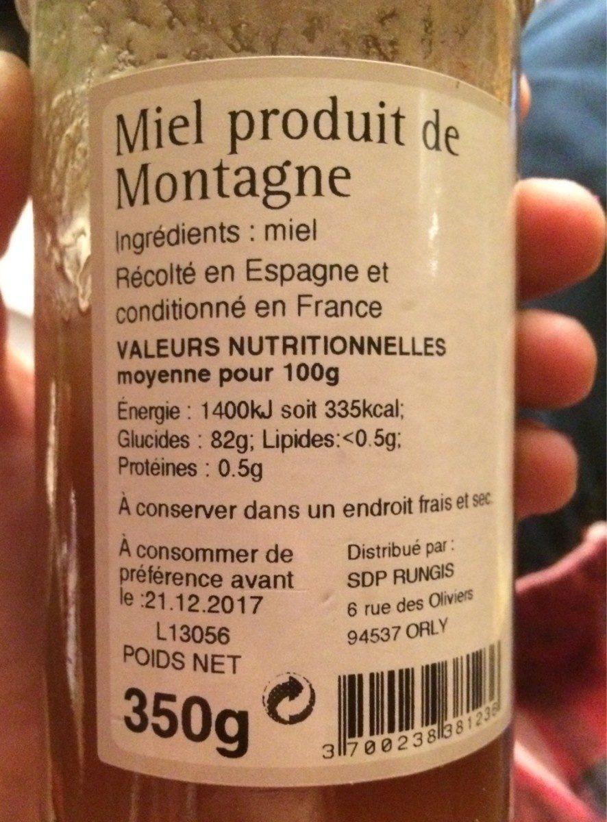 Miel de montagne - Ingrédients