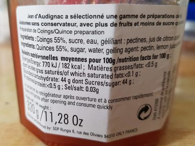 Confiture de Coings - Informations nutritionnelles