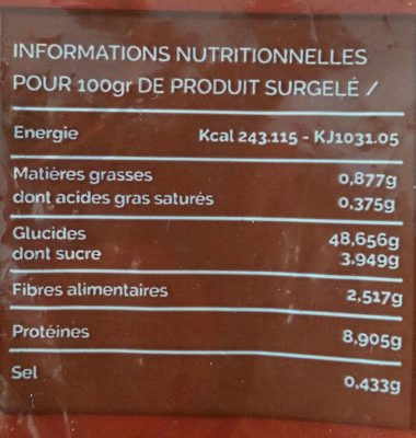 Bagels surgelés - Nutrition facts