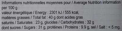 Chocolat Noir Chuno Nicaragua - Nutrition facts - fr