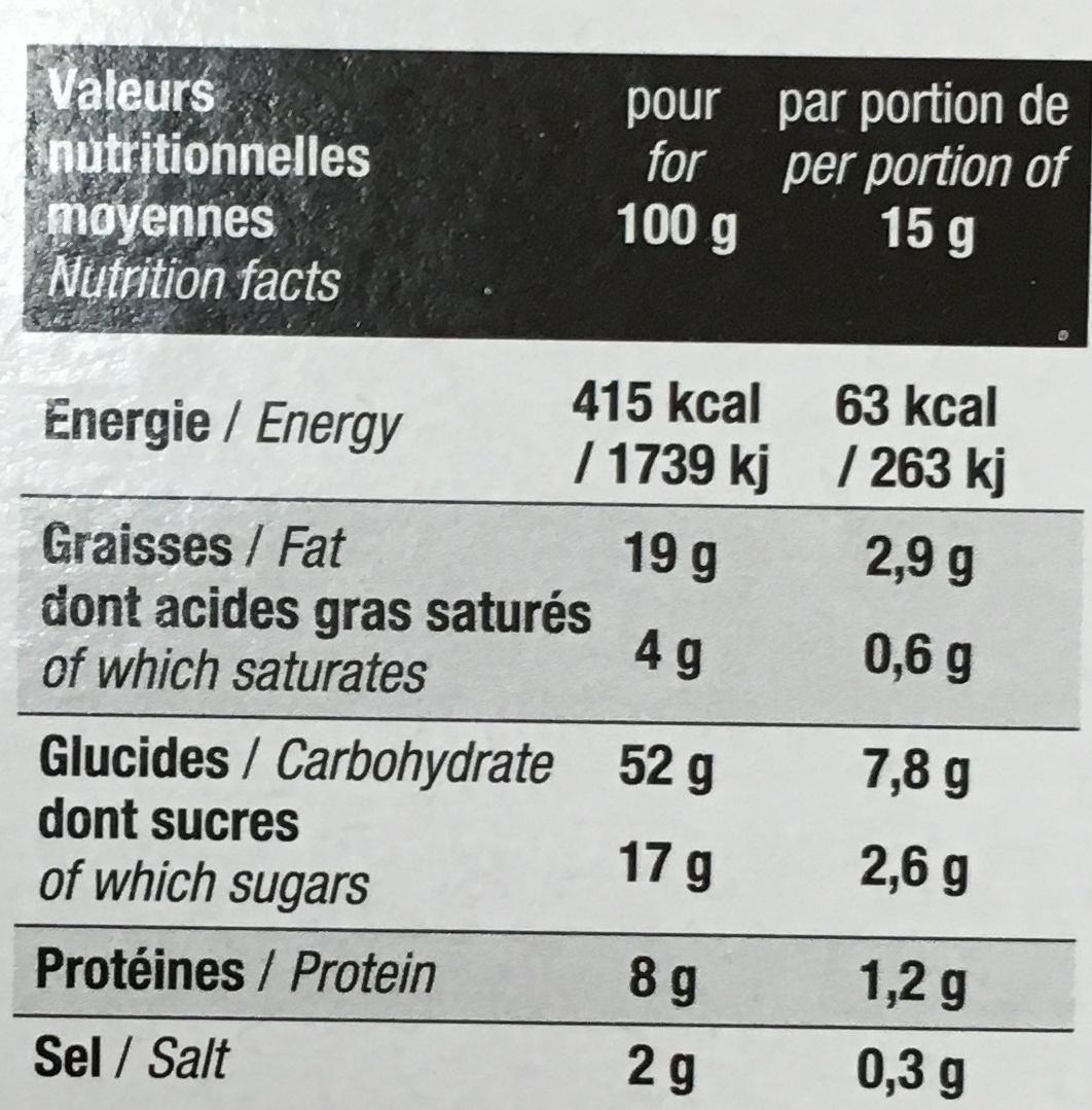 Les Petits Écus Tomate & Basilic - Nutrition facts