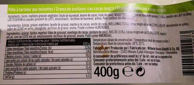 Noisetti - Informació nutricional - fr