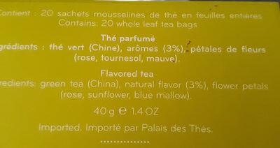 The Du Hammam, Teebeutel, Grüner Tee, Rose, Dattel, Rote Früchte U. Orange, Palais Des Thes - Ingredients