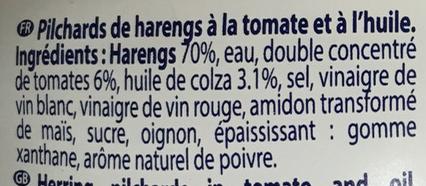 Pilchards Tomate et huile - Ingrédients - fr