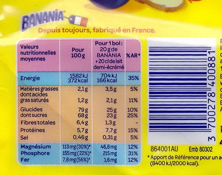Poudre instantanée Banania - Nutrition facts - fr