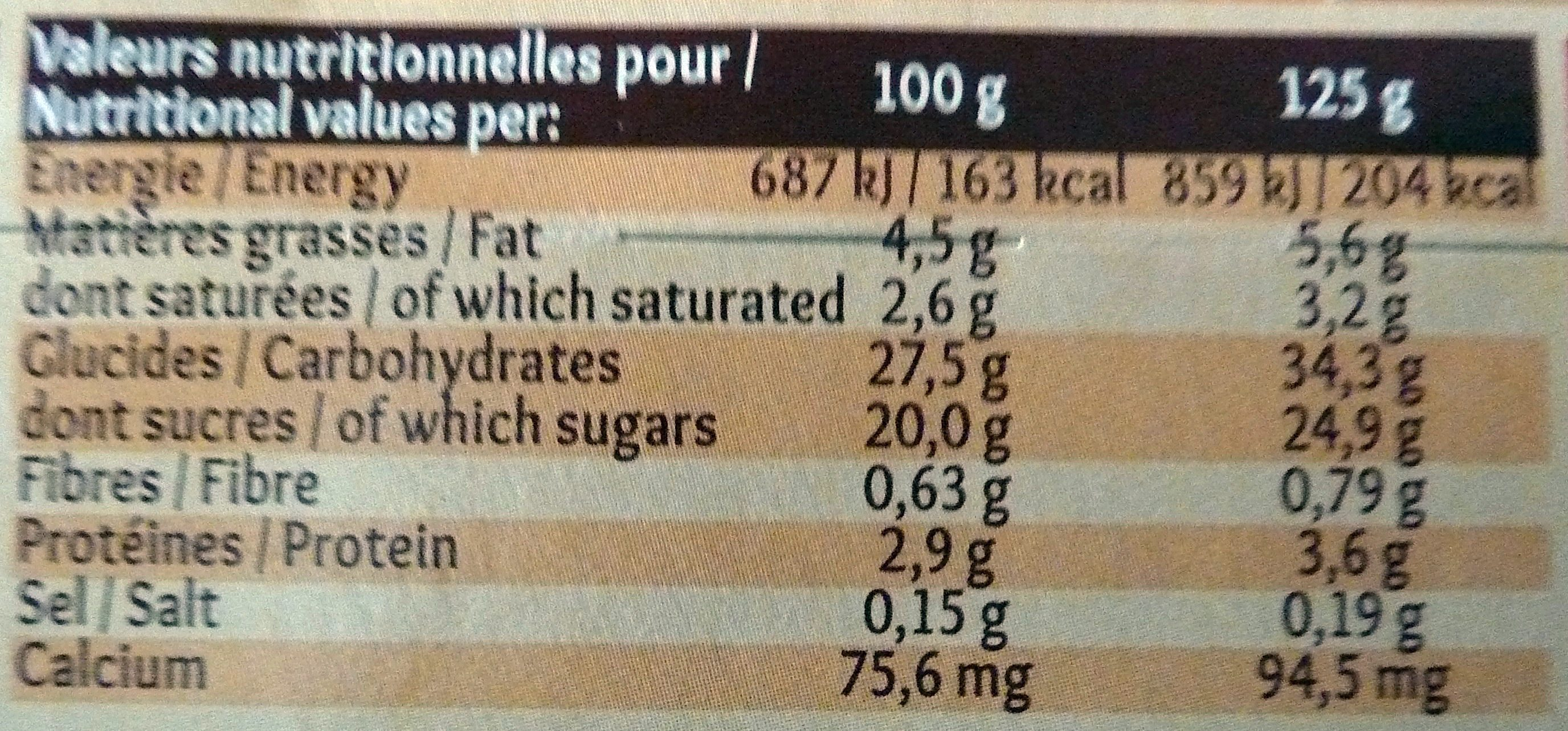 Gâteau de Riz nappage Caramel (4 pots) - Informations nutritionnelles - fr