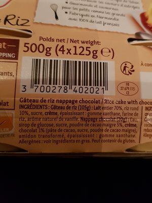 Gâteau de riz nappé de chocolat - Ingrédients - fr