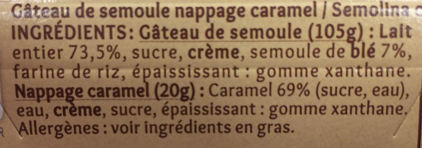 Gâteau de semoule nappage caramel - Ingredients