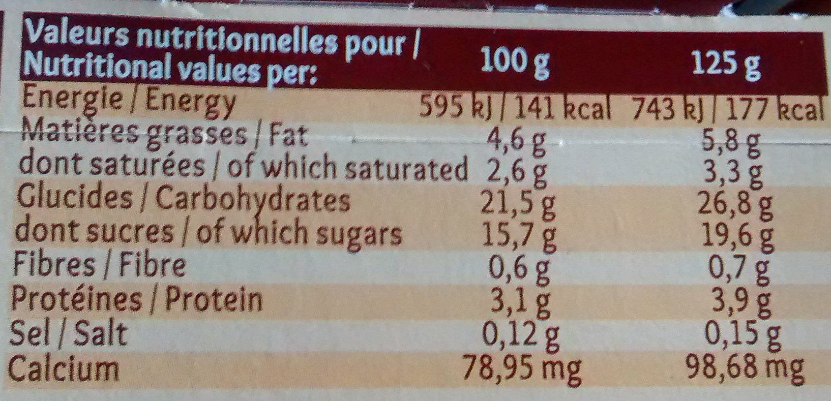 Gâteau de Semoule nappage Chocolat - Nutrition facts