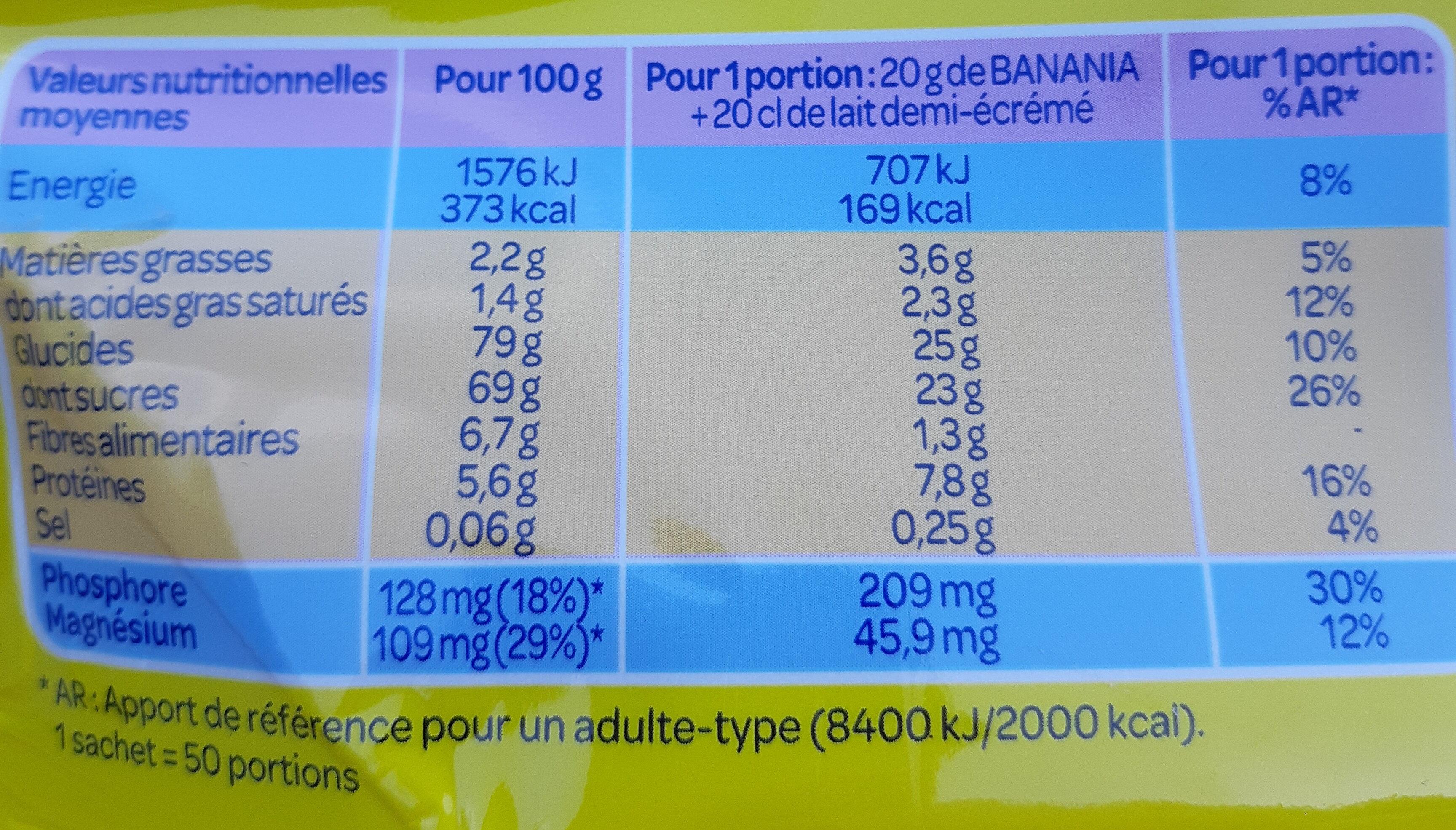 Banania chocolat en poudre - Wartości odżywcze - fr