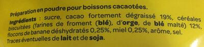 Chocolat en poudre Banania - Ingredients
