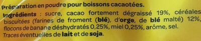 Banania boissons cacaotées. - Ingredients