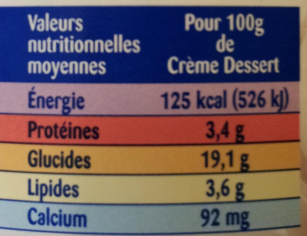 La Crème Dessert Au Chocolat - Voedigswaarden