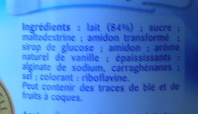 La Crème Dessert à la Vanille - Ingrédients - fr