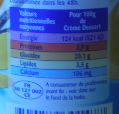 La Crème Dessert à la Vanille - Informations nutritionnelles - fr