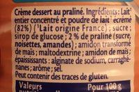 MONT BLANC Crème Dessert Praliné - Ingrédients - fr
