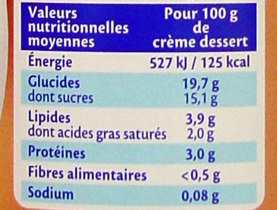 Praliné (3,9 % MG) - Nutrition facts
