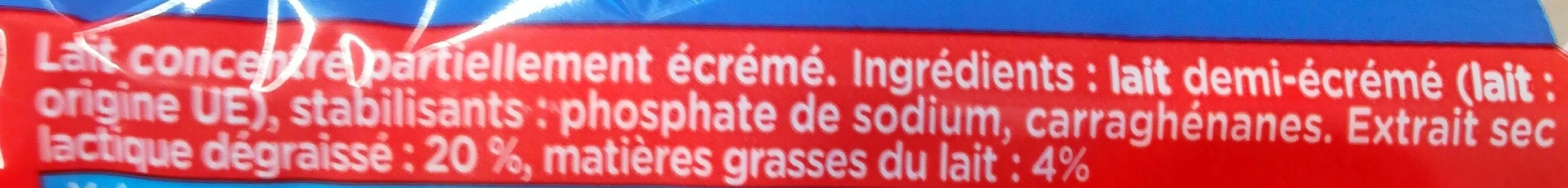 GLORIA Lait Concentré Non Sucré 1/2 Ecrémé 4% Blister 10 dosettes - Ingrédients - fr